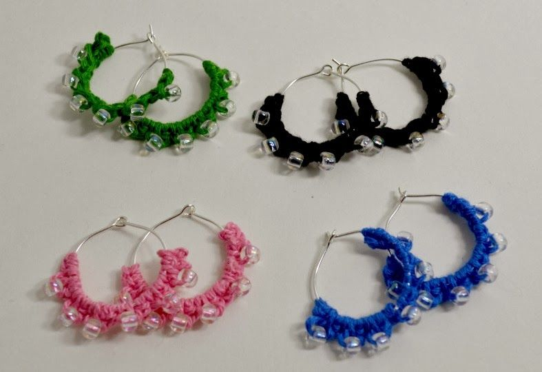 Crochet Dynamite: Beaded Hoop Earrings!... Free pattern! | Crochet ...