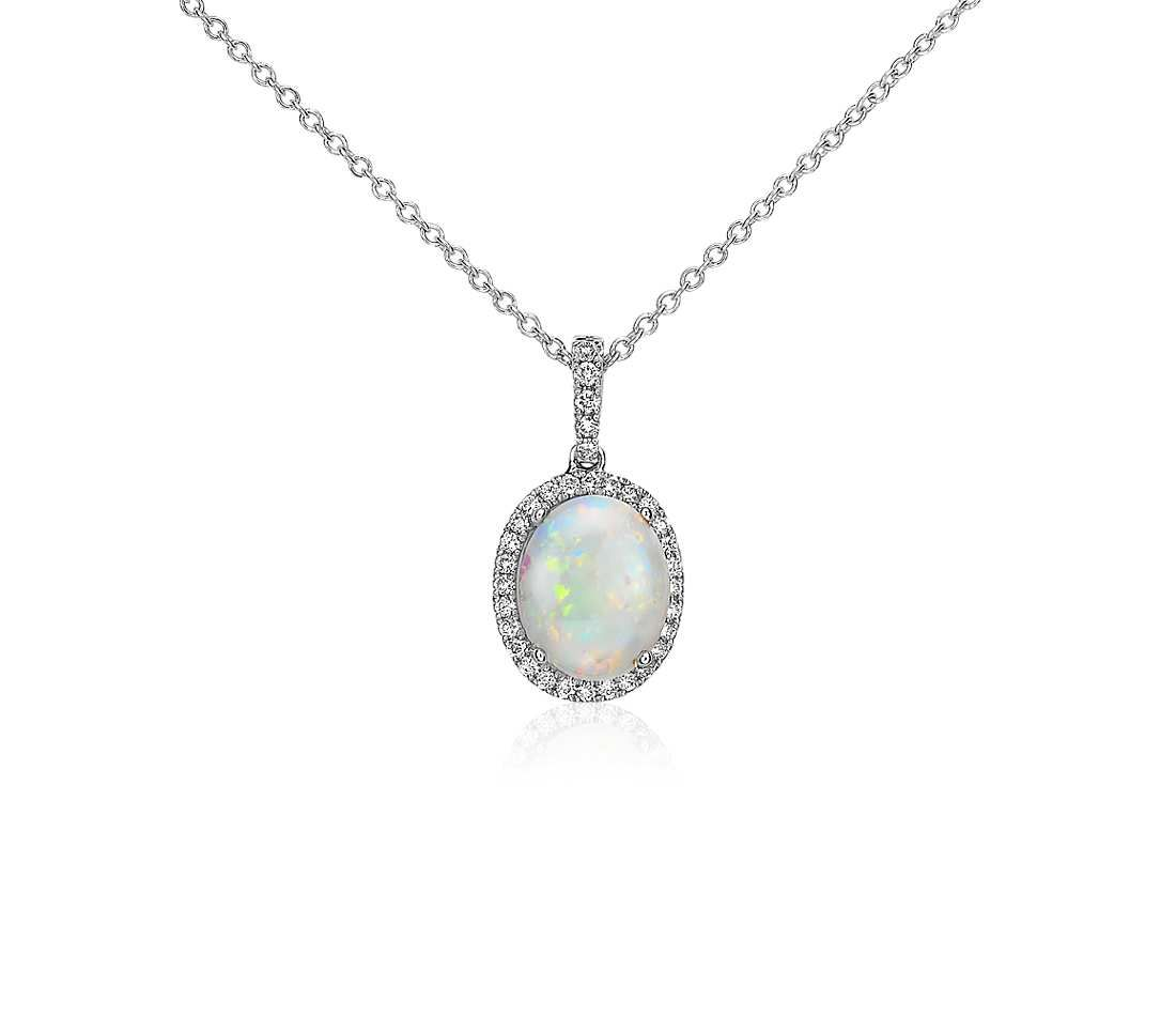 Opal and diamond pendant in 14k white gold 10x8mm diamond opal and diamond pendant in 14k white gold 10x8mm aloadofball Gallery