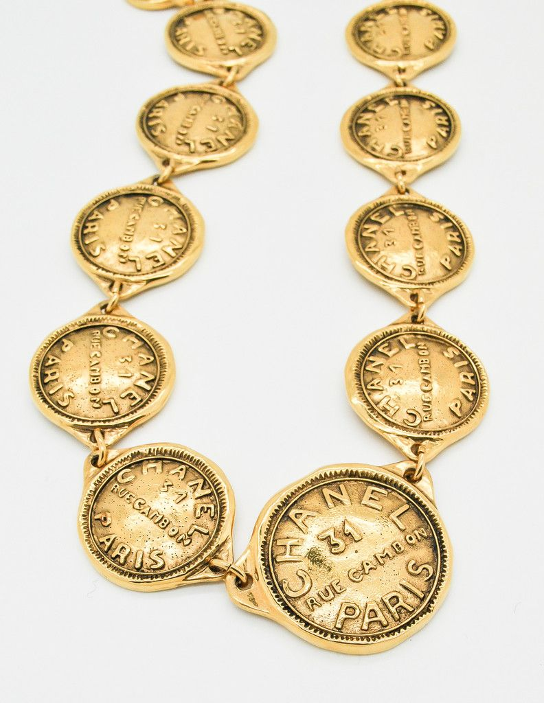 Chanel Vintage Gold 31 Rue Cambon Coin Medallion Necklace - Amarcord Vintage Fashion