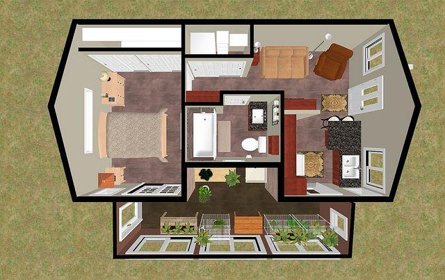 Cozyhomeplans Com 424 Sq Ft Small House Floor Plan Concept Secret Garden 3d Top View With 3 Season Room Small Dream Homes Small House Small House Floor Plan House plans with secret rooms