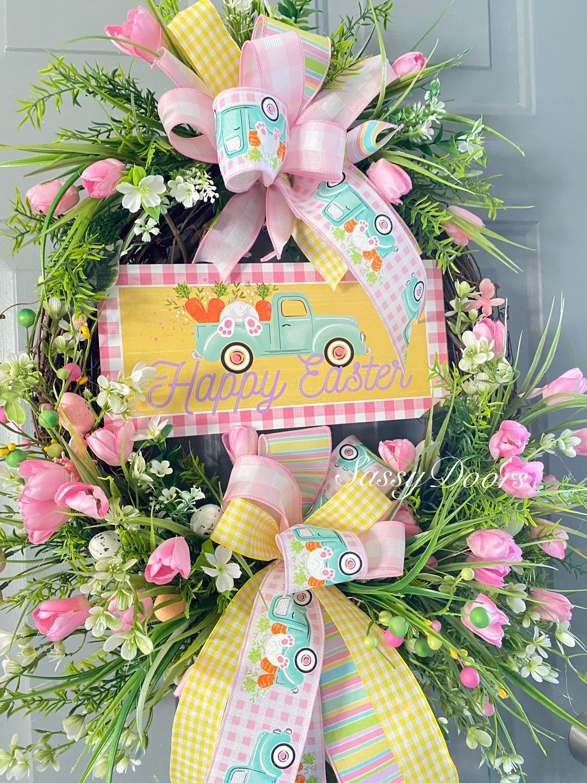 Photo of Truck Wreath, Easter Wreaths, Tulip Wreath, Easter Grapevine Wreath, Spring Wreath, Sassy Doors Wreath, Easter Truck Wreath