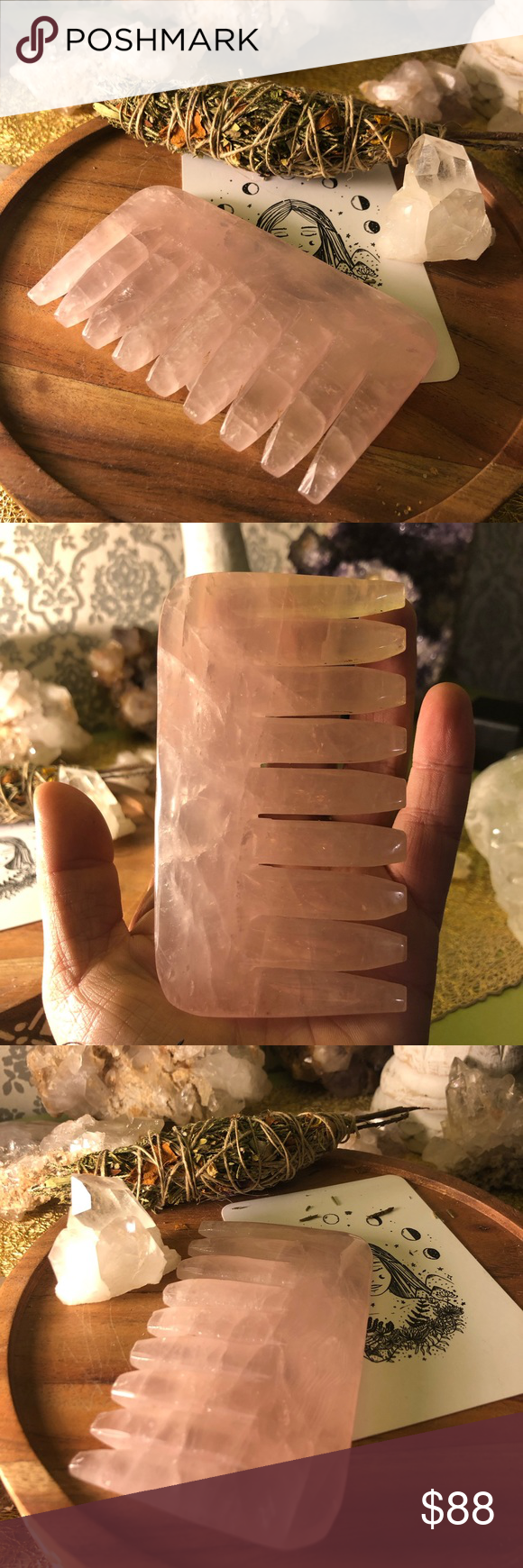 SALE ‼️ Rose quartz healing crystal hair comb Rose