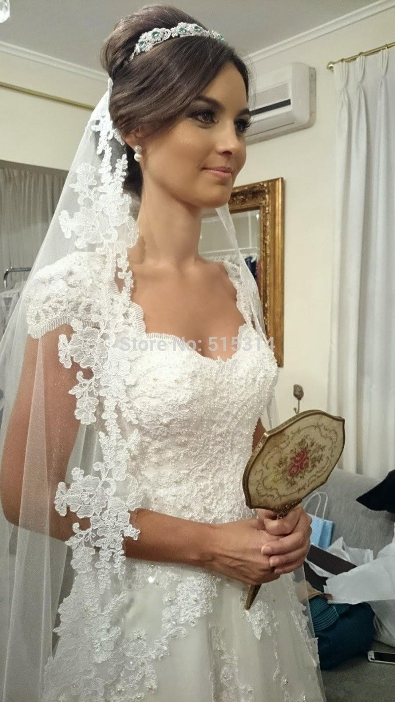 Custom Made 2014 New A line Backless Lace Pearls Attractive Lengthy Mariage vestidos de noivas Wedding Dress