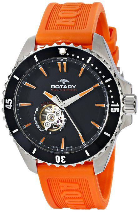 I ❤ COLOR NARANJA ❤ Rotary ags90078/a/04 - Reloj para hombres, correa de goma color naranja