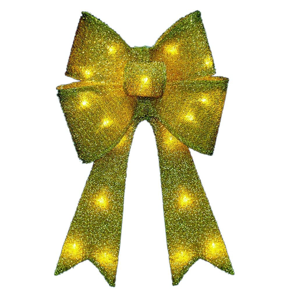 20 Inch Gold Tinsel Bow With 13 Warm White LED Lights | Lighted ...