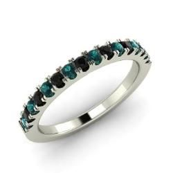 Blue Diamond and Black Diamond  Ring in 14k White Gold (0.34 ct.tw.) - Solace