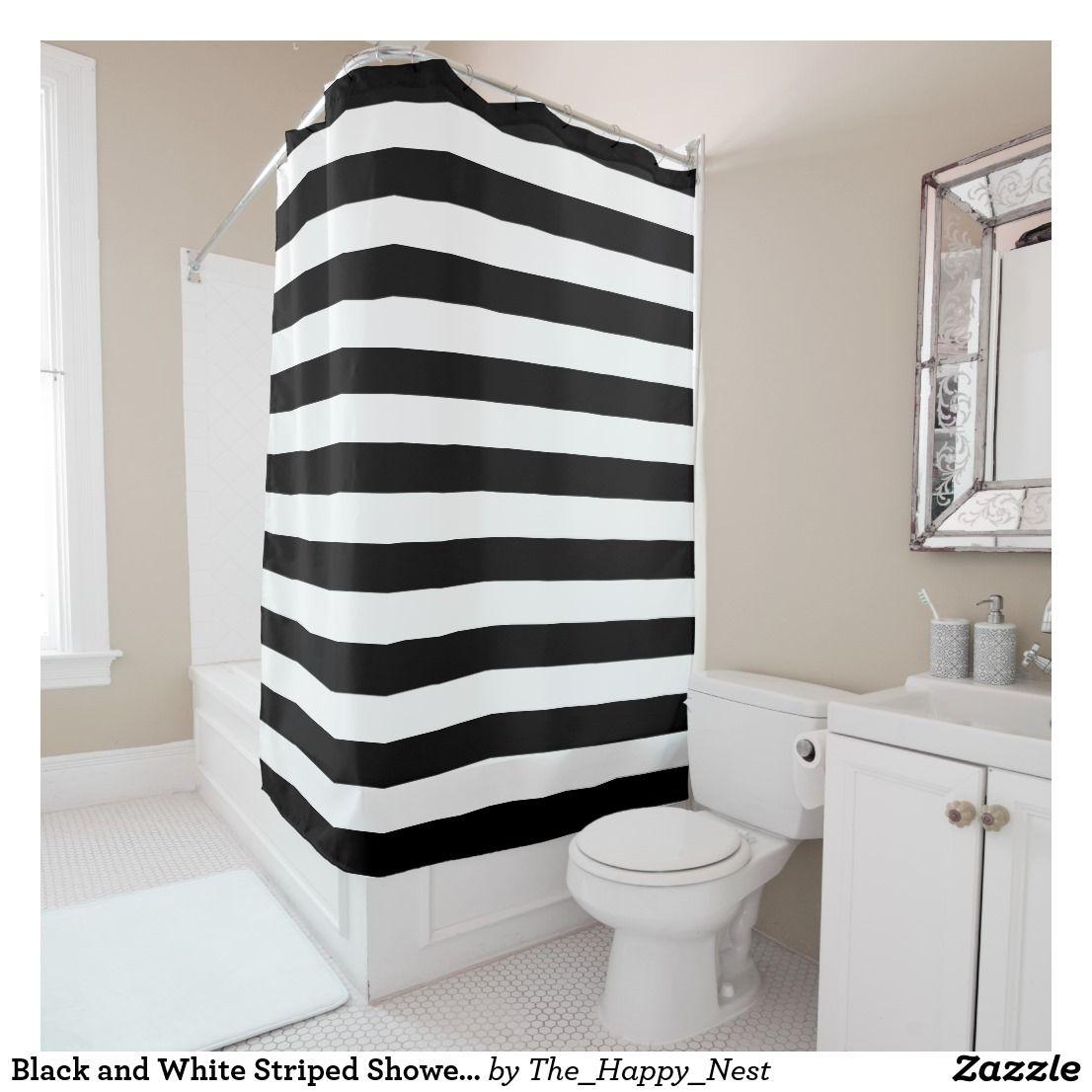 Black And White Striped Shower Curtain Zazzle Com In 2019 Home
