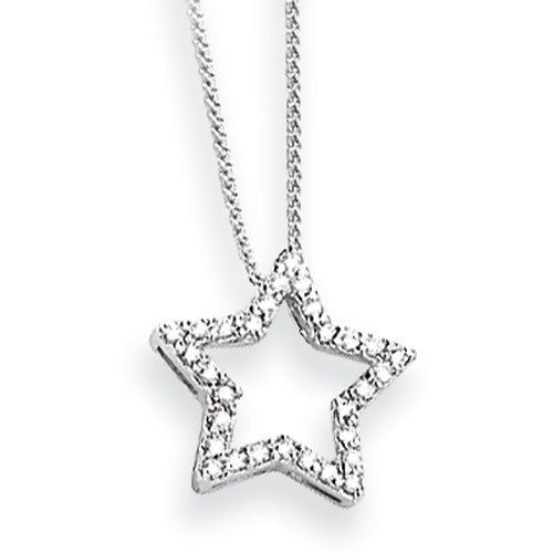 14k white gold diamond star pendant with 18 chain diamond quality 14k white gold diamond star pendant with 18 chain diamond quality aa i1 clarity aloadofball Choice Image