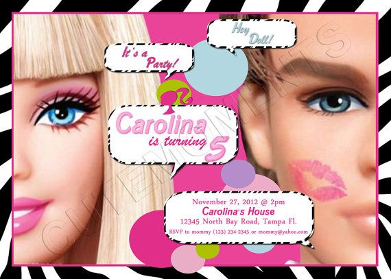 Barbie Ken Personalized Birthday Party – Personalized Birthday Party Invitations