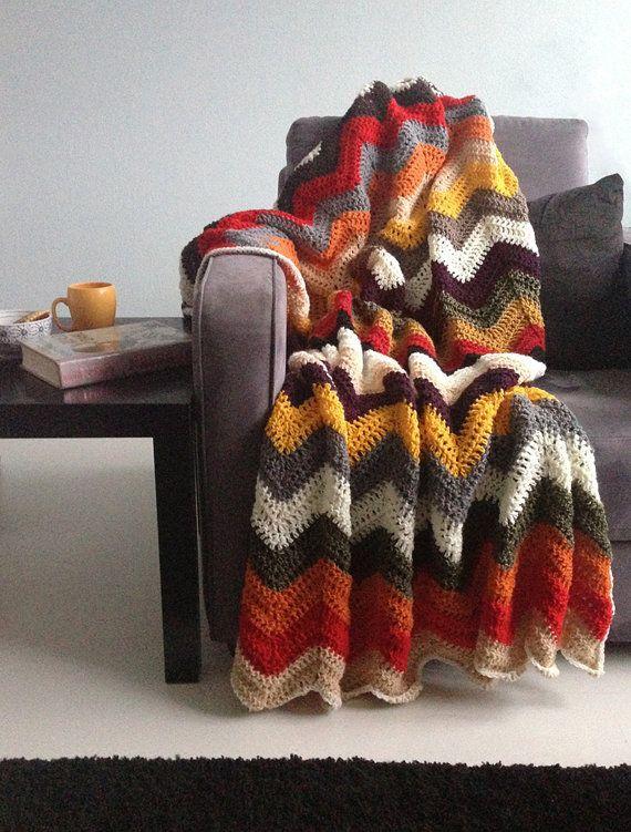 Chevron blanket - Falling for multicolor autumn crochet afghan throw ...