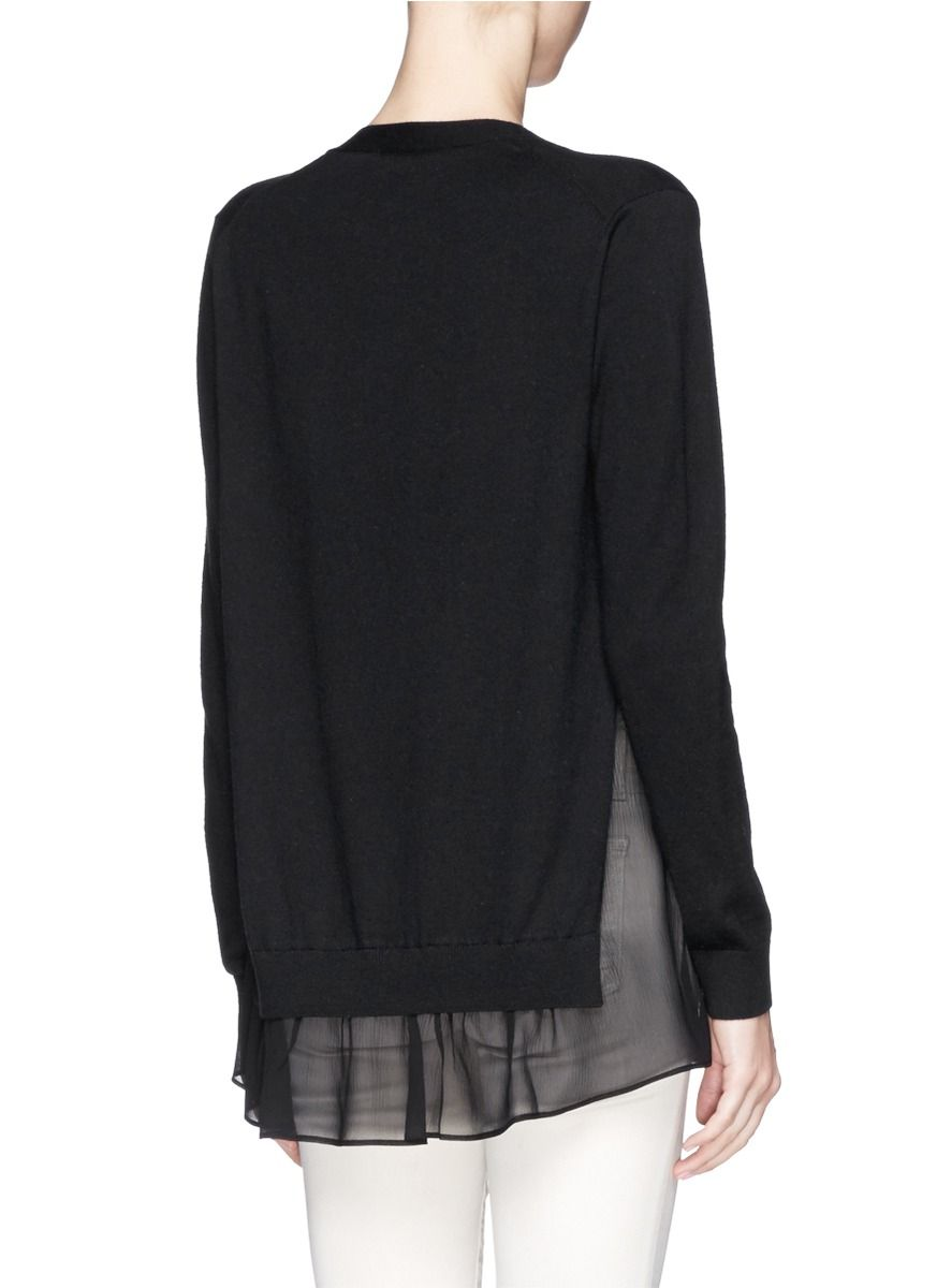 THEORY 'Haveera' silk chiffon insert knit cardigan | Fashion ...