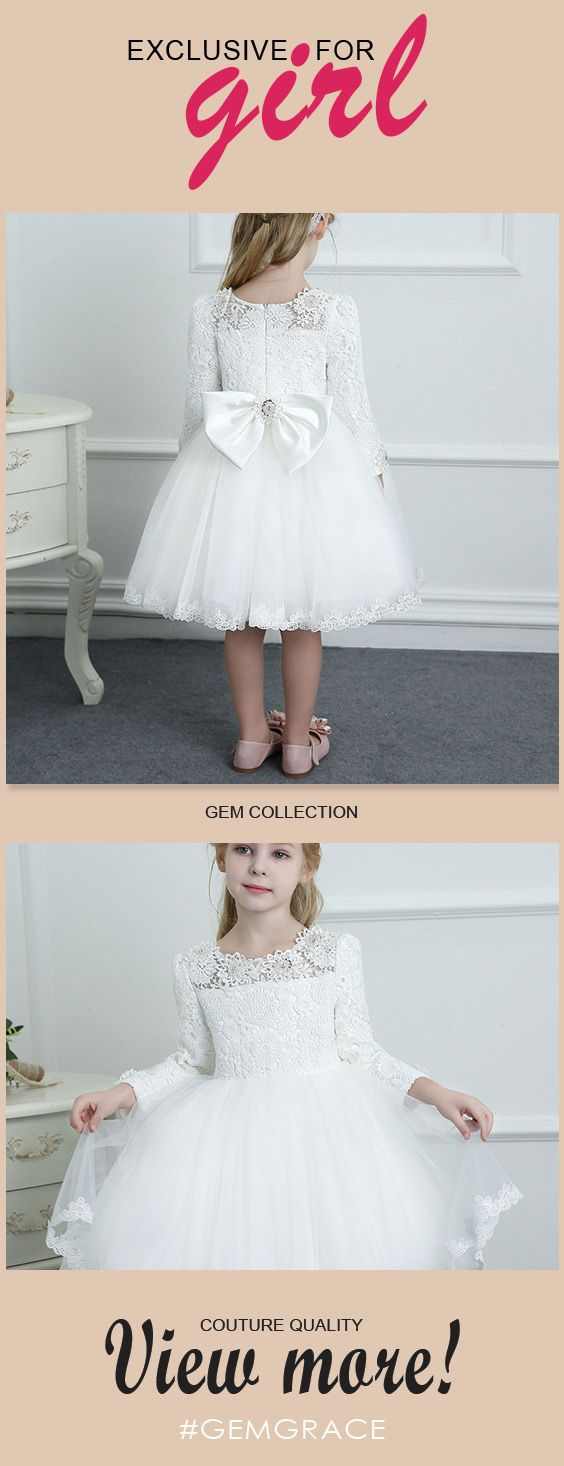 Couture white lace long sleeve flower girl dress wedding dress