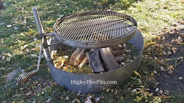 30 Or 36 Diameter Stainless Steel Fire Pit Ring With Swing Away Grill Www Higleymetals Com Fire Pit Cooking Fire Pit Fire Pit Swings