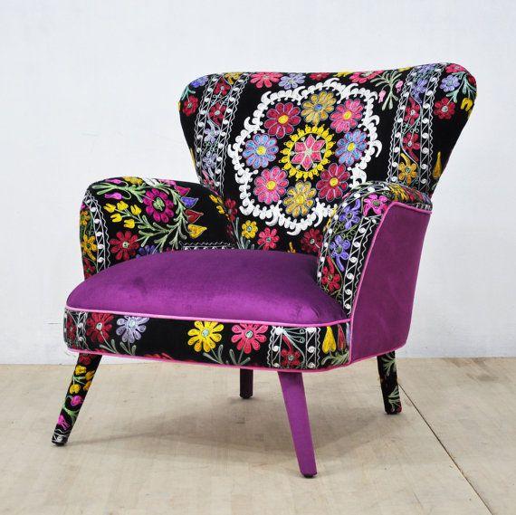 Suzani Armchair  deep purple by namedesignstudio on Etsy