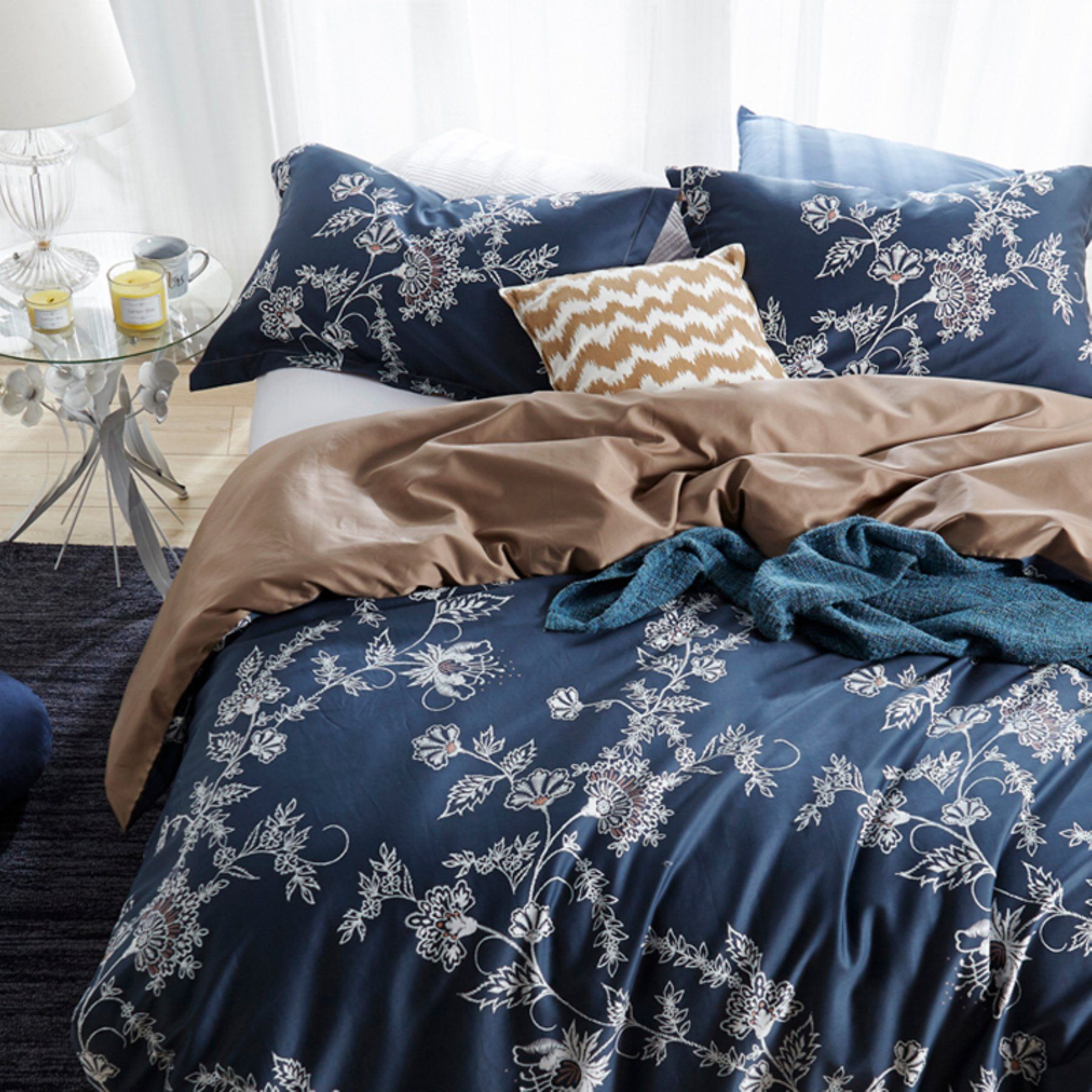 Moxie Vines Duvet Set  Navy By Byourbed  141Duvt Byb Txl