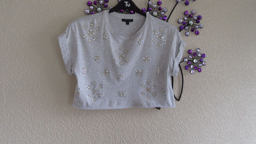 Topshop Short  Grey Bling   Cotton  Size 8 Short Sleeved Long Crop #TopShop #PoloShirt #Party