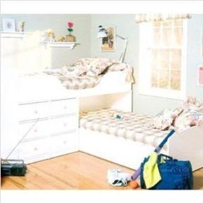 L Shaped Bunk Bed For Low Ceiling Room Kid Beds White