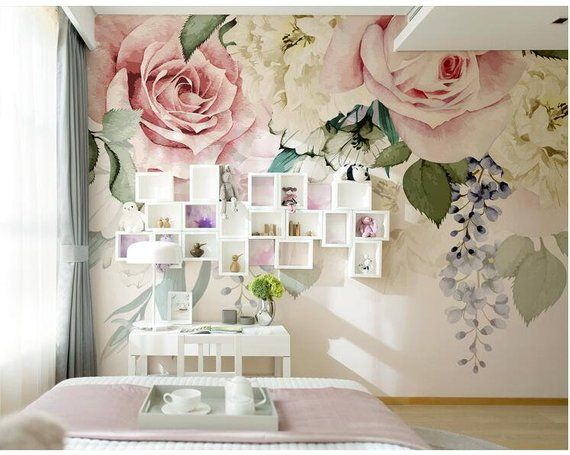 Floral Black Grey White Rose Flower Wall Mural Photo Wallpaper GIANT WALL DECOR