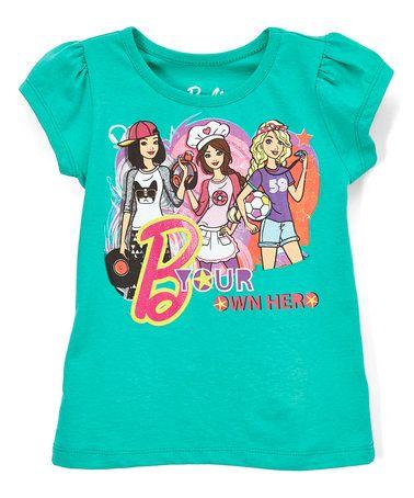 Look what I found on #zulily! Green Barbie 'B Your Own Hero' Tee - Girls #zulilyfinds