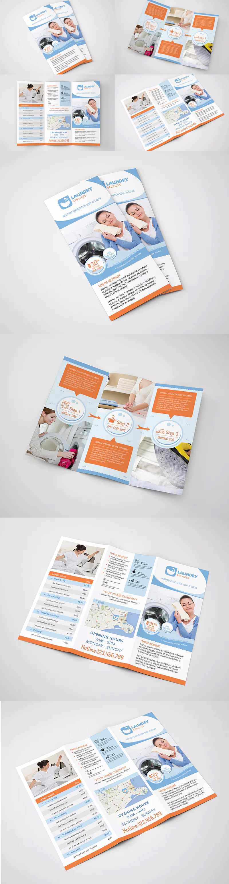 Laundry Services Trifold Brochure Template PSD | Brochure Templates ...