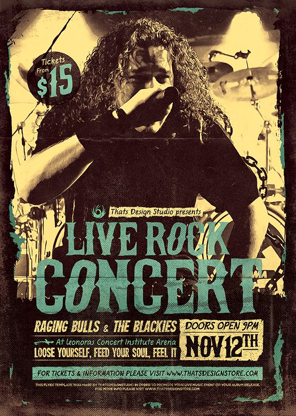 Live Concert Flyer Poster Template 14 designed to promote an Indie - band flyer template