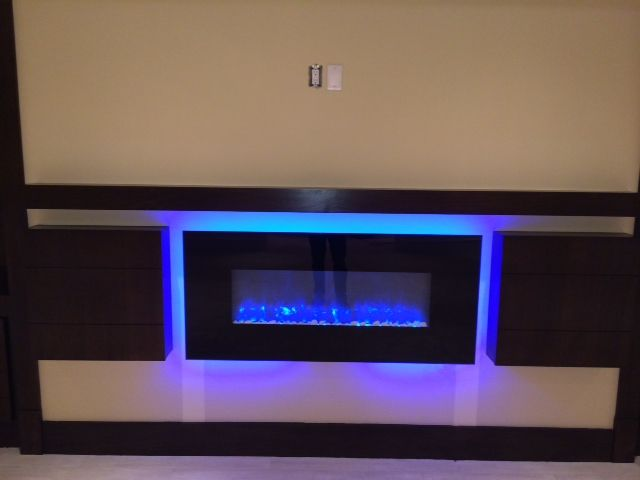 Simplifire Electric Fireplace Between Cabinets Electric