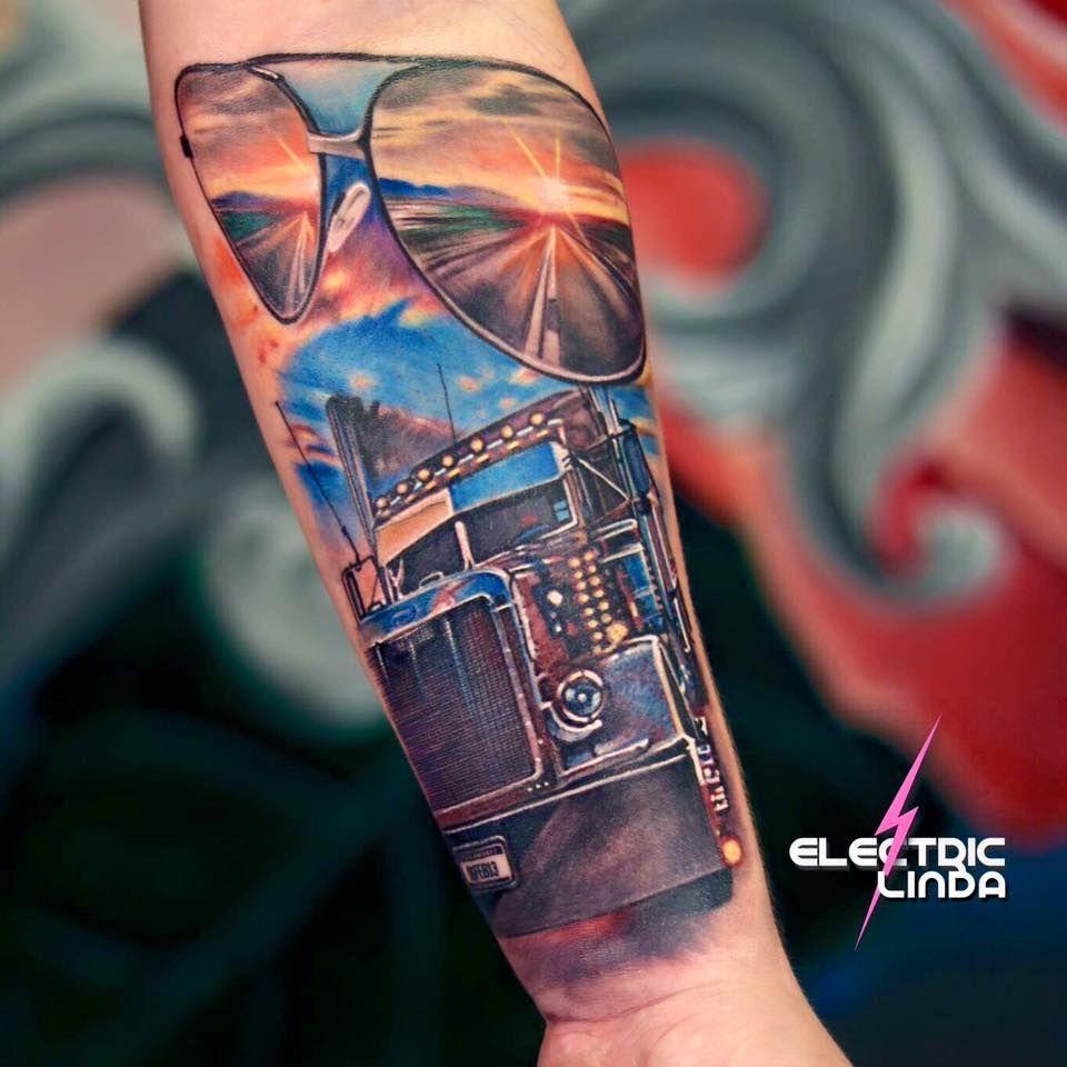 Peterbilt tattoo truck tattoo trucker tattoo tribute