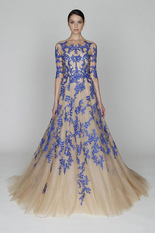Periwinkle and cream gown