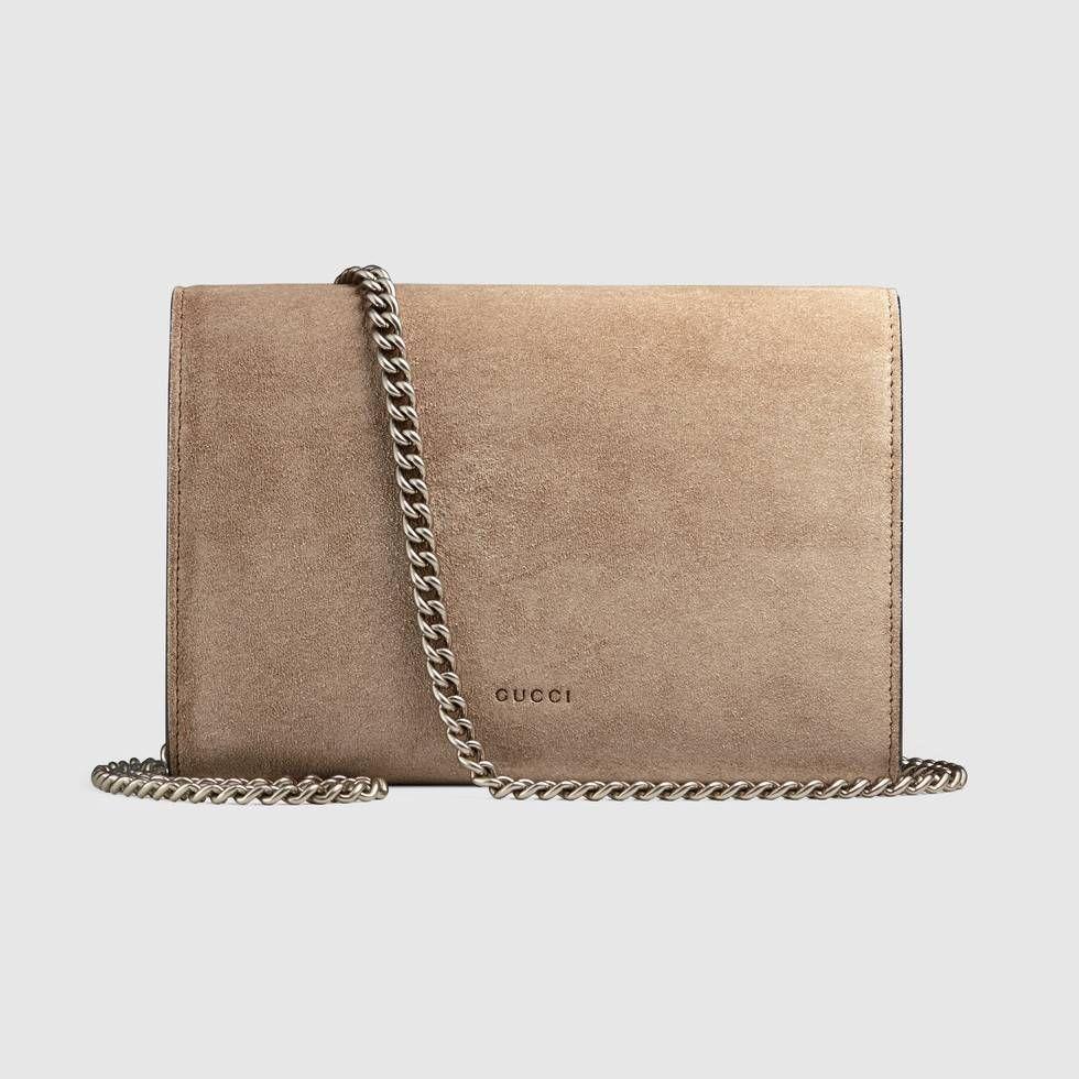8cfc46e9473 Shop the Dionysus suede mini chain bag by Gucci. A structured suede chain  mini bag