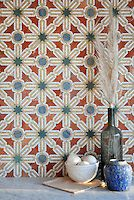 Alcazar stone waterjet and handcut mosaic in Spring Green, Blue Macauba, Rojo Alicante and Renaissance Bronze polished | The Miraflores Collection by Paul Schatz | New Ravenna