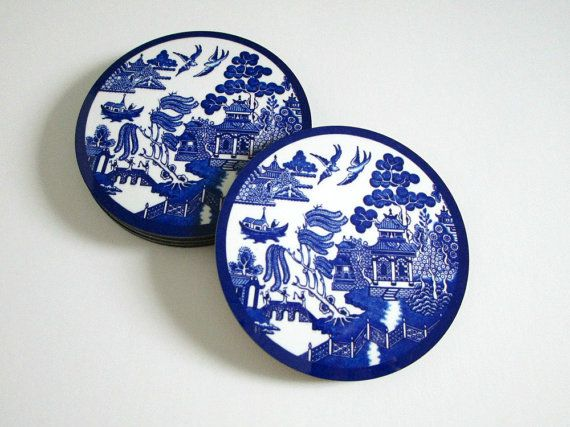 Best Blue Willow Coasters Set Vintage Style Drink Coasters 400 x 300