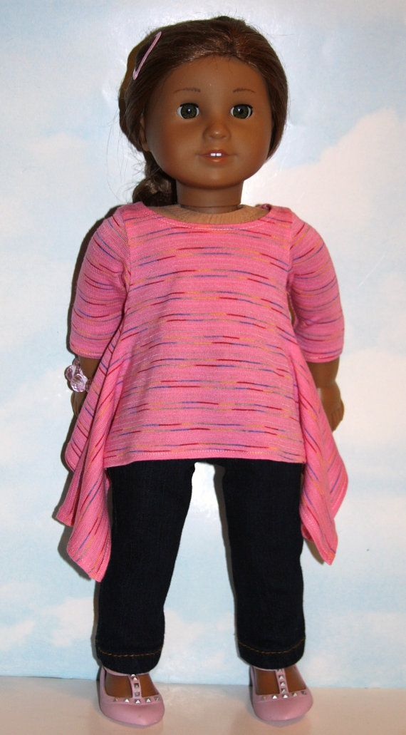 Comfy and relaxing wear for a casual weekend, this outfit is made from soft, stretch cotton knit and stretch denim. The pink top has a narrow, variegated color stripe design, a wide neckline, 3/4 sleeves, and a trendy and unique twirl hemline; closes in back with Velcro. Her skinny jeans have a high waist, front and back yoke, four real pockets (plus a tiny key pocket in front) and a front fly that closes with Velcro. Traditional gold top stitching highlights the details.  Made from Sew ...