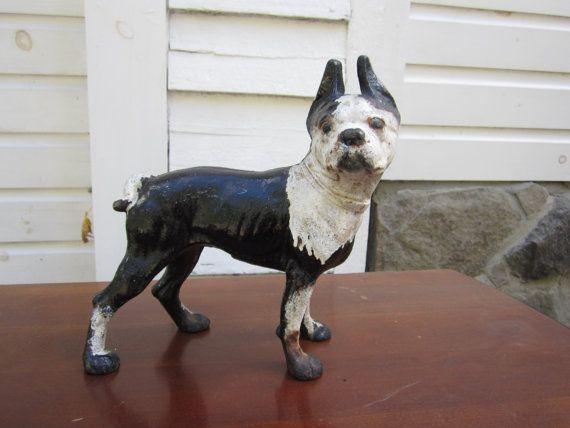 Vintage Cast Iron Bull dog door stop