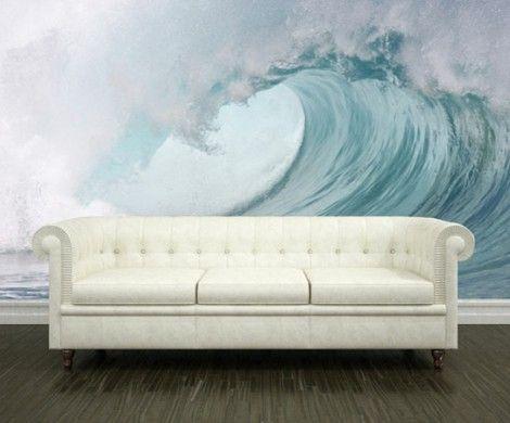 Stunning moderne wandgestaltung mit fototapeten wohnzimmer ozean welle