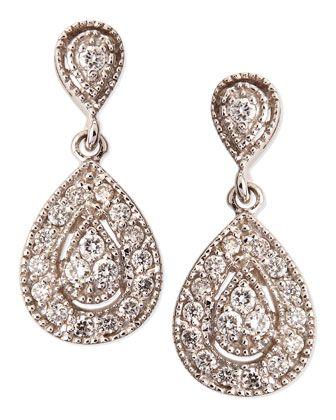Antiqued Pave Diamond Teardrop Earrings by KC Designs at Neiman