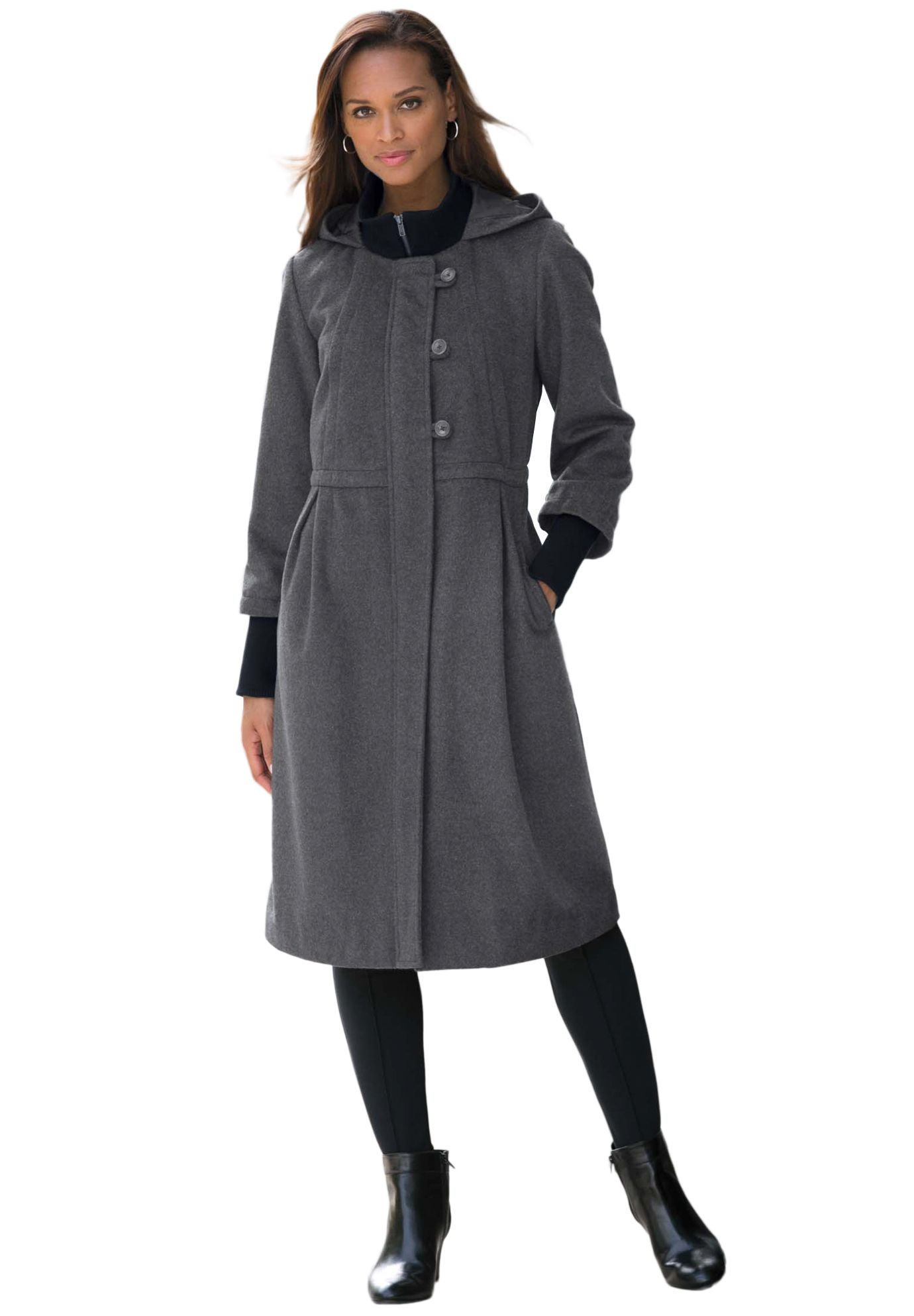 Wool-Blend Coat With Empire Waist | Plus Size Long Coats ...