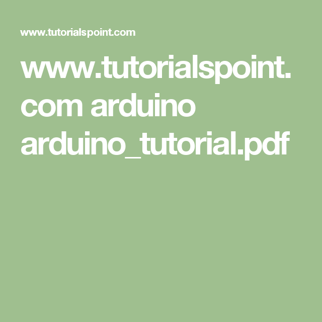 Www Tutorialspoint Com Arduino Arduino Tutorial Pdf Iot Karate
