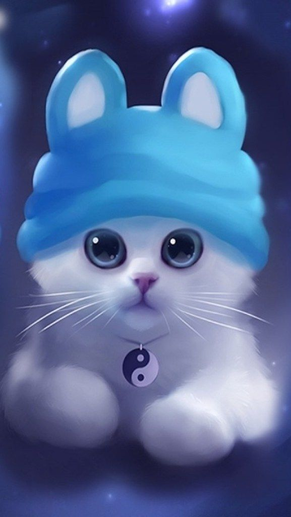 Cute Little White Kitty HD iPhone 5 Wallpaper Cat art