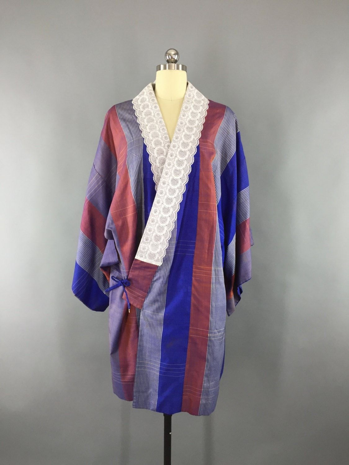 5d0830976d8 Vintage 1960s Silk Haori Kimono Cardigan Jacket Wrap Coat with Blue and  Maroon Stripes