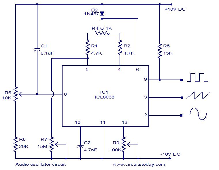 icl8038 based audio oscillator circuit simultaneous sine triangle rh pinterest com