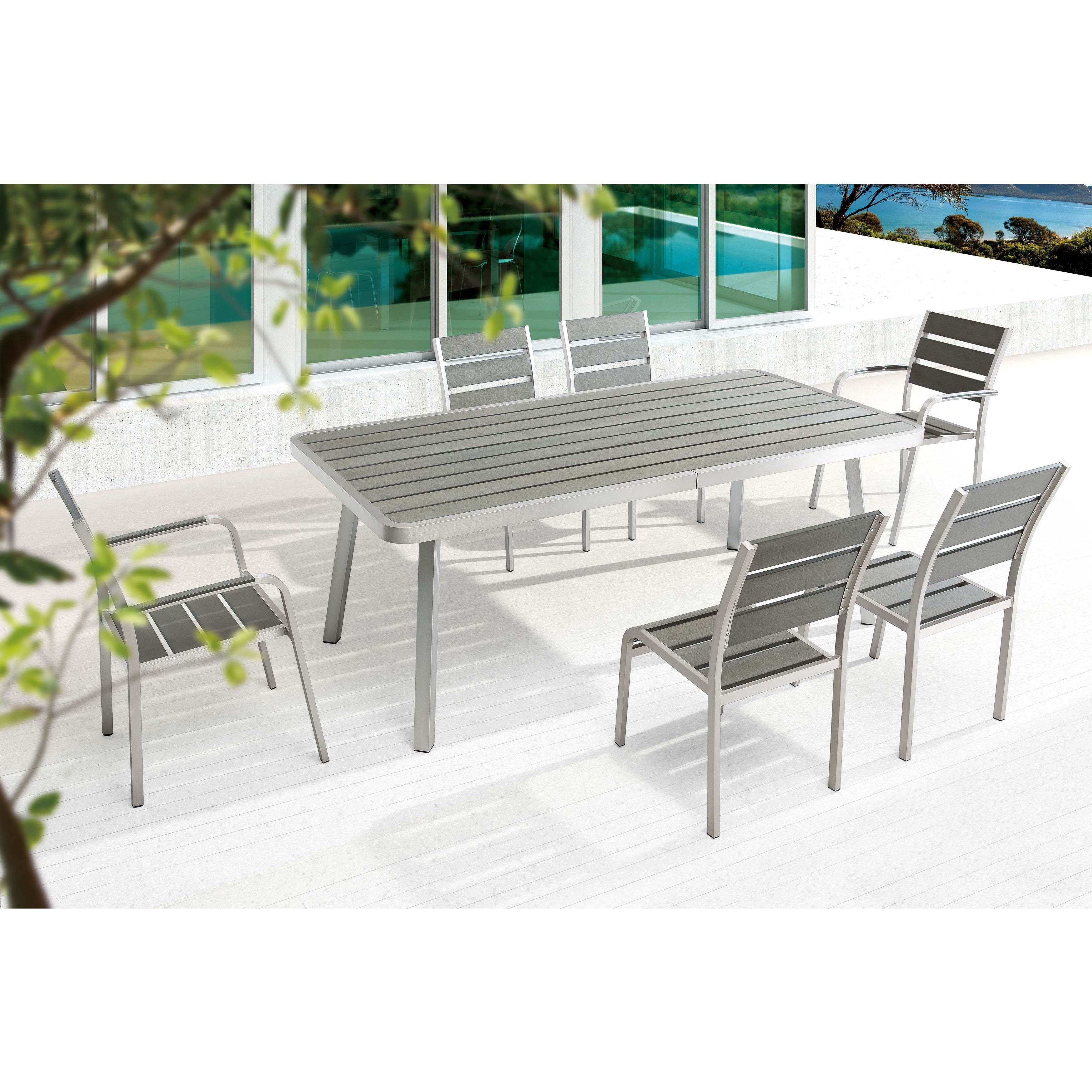 Township Brushed Aluminum Long Dining Table Overstock Com Shopping The Best Deals On Dining Tables Patio Furniture Deals Patio Table Outdoor Tables