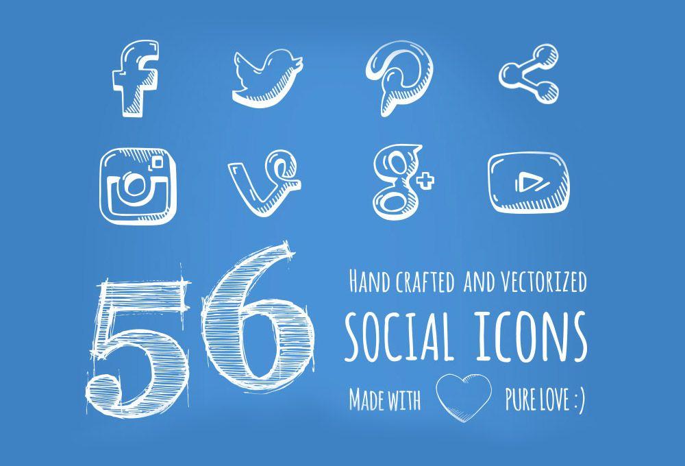 56 Free Hand Drawn Social Media Icons Graphicsfuel Social Icons Social Media Icons How To Draw Hands