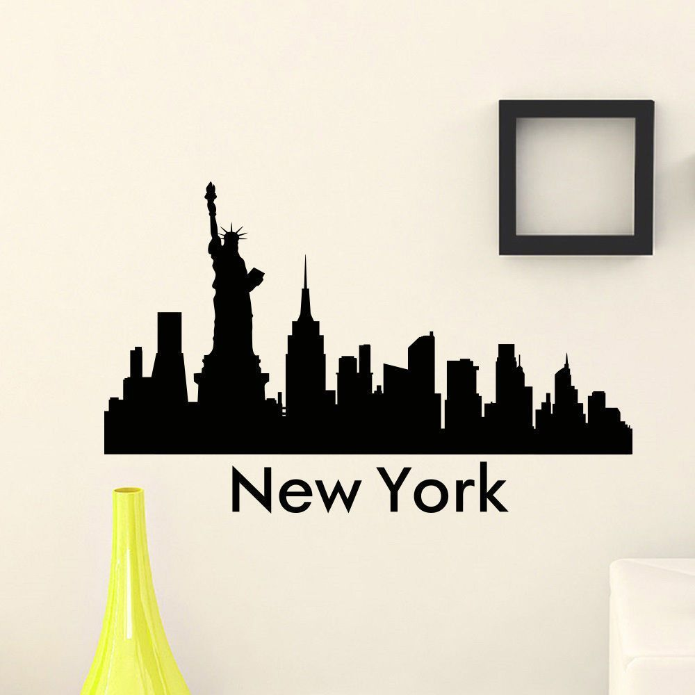 Please contact me if you are looking for a dj httpsdjpeter wall sticker vinyl art mural new york city skyline city silhouette special wall decals for home decoration amipublicfo Gallery