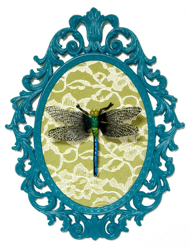 Dragonfly - Victorian Framed Object - Wall Art Decor | Aqua & Lime ...