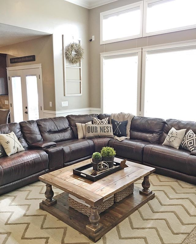 How To Style A Coffee Table In Your Living Room Decor Living Room Leather Leather Couches Living Room Brown Living Room