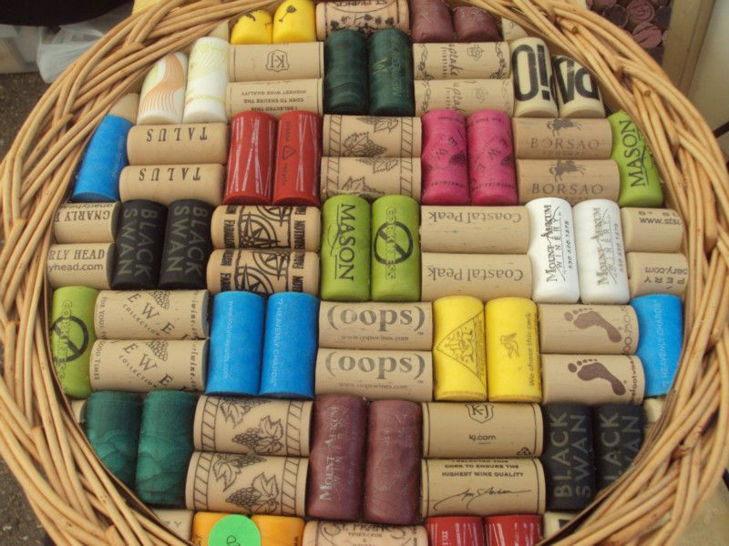 Repurposed Synthetic Wine Cork Tray in upcycled basket by JDizzigns - Craft Cafe  $20