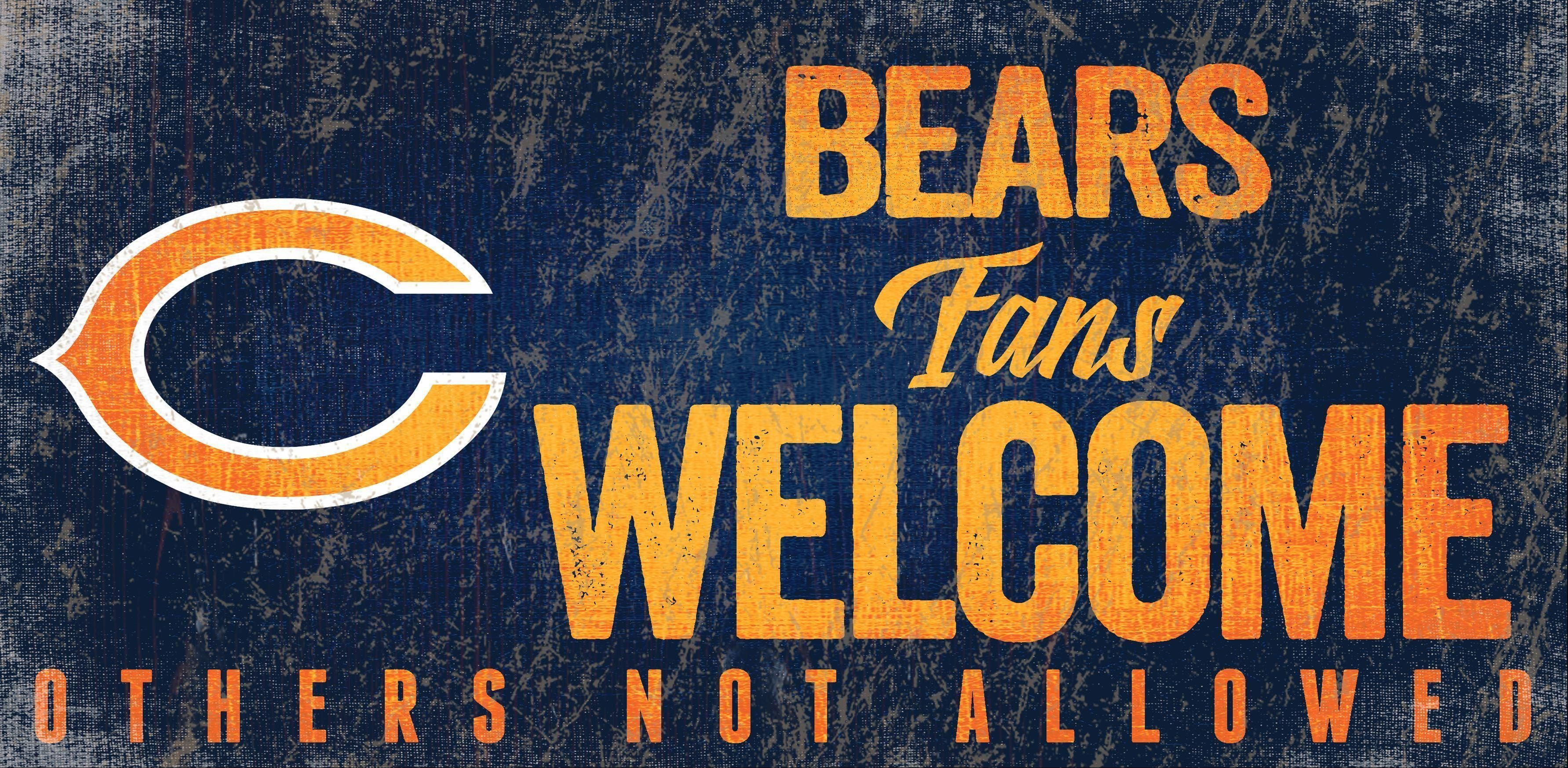 Fans Welcome 12x6 Chicago Bears Wood Sign