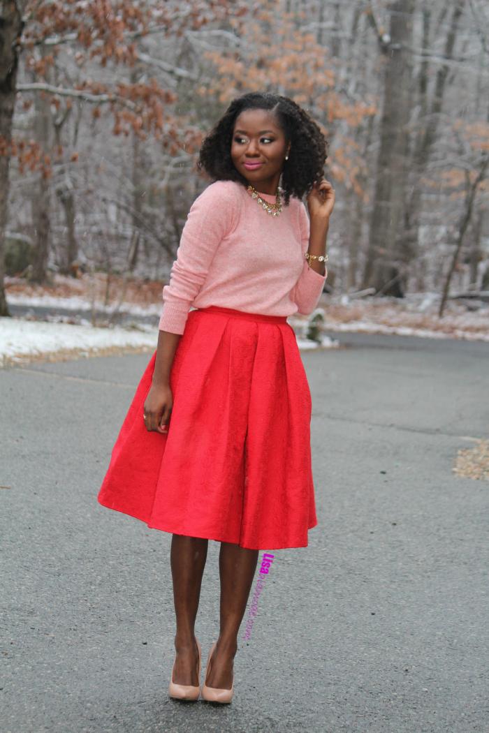 a54a1dc29f8 How to Style a Red Skirt  Fashion a la mode Link Up - Lisa a la modeLisa a  la mode