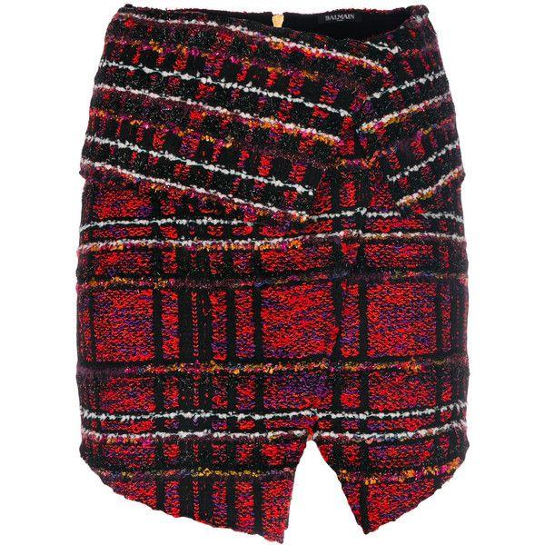 Balmain tweed mini skirt (€1.465) ❤ liked on Polyvore featuring skirts, mini skirts, balmain, short mini skirts, short skirts, tweed mini skirt and balmain skirt
