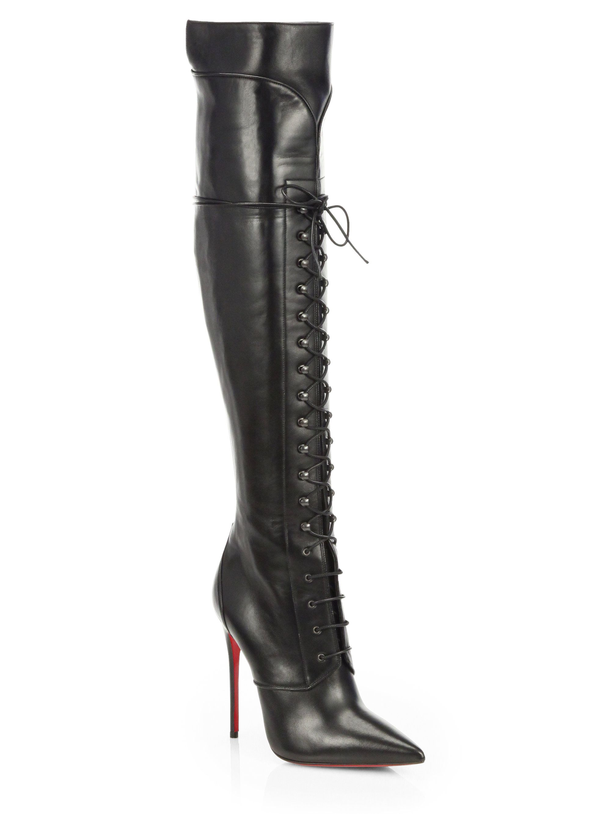 c80c2e4613111c Christian Louboutin Mado Leather Lace-up Over the knee Boots in Black